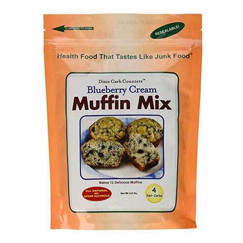 Package of Dixie Carb Counters blueberry cream muffin mix