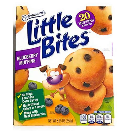 box of Entenmann's Little Bites Blueberry Muffins