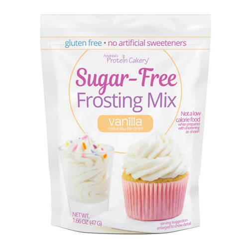 1.66 oz pouch of Andrea's Protein Cakery's low carb, sugar free vanilla frosting mix